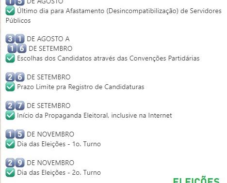 1️⃣5️⃣ DE NOVEMBRO✅ Dia das Eleições - 1o. Turno