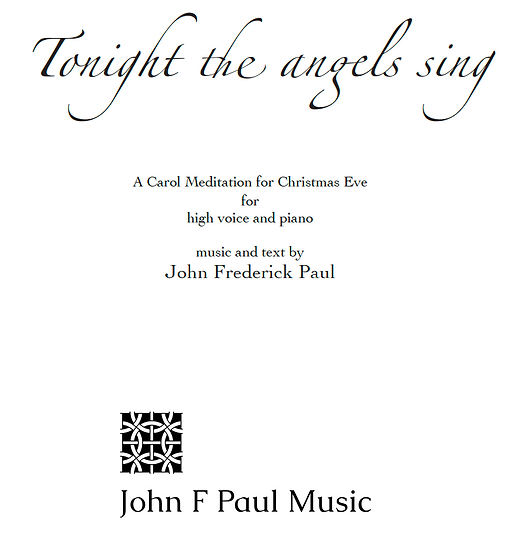 Tonight the angels sing - high voice and piano