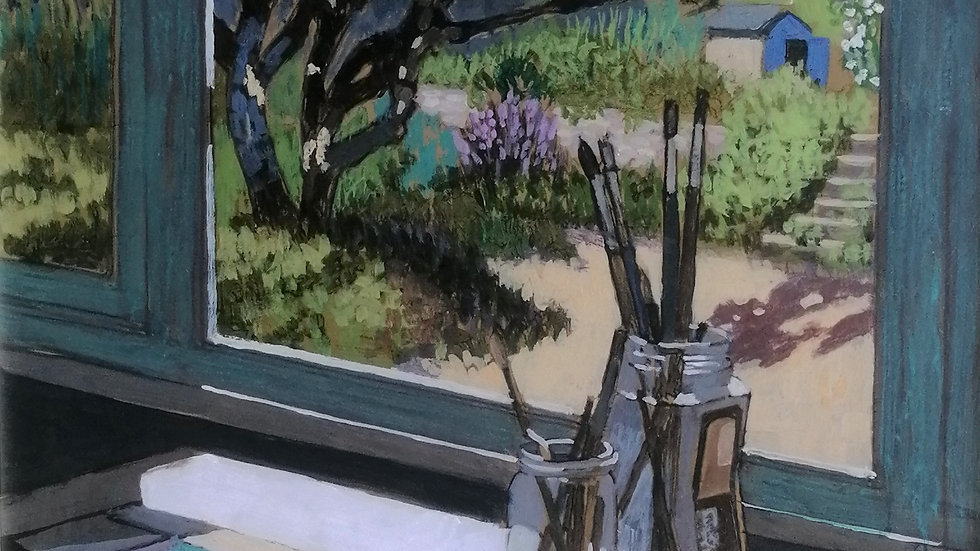 Garden studio. Painting by Mike Hall