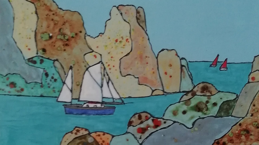 """Ceramic Wall plaque """"Rocks and Yachts"""""""