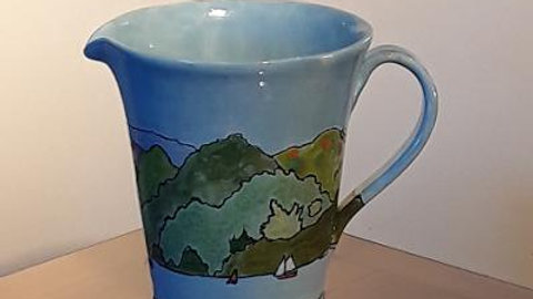 wide necked jug hand painted with shore line