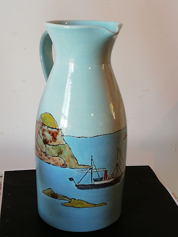 Tall jug with seascape