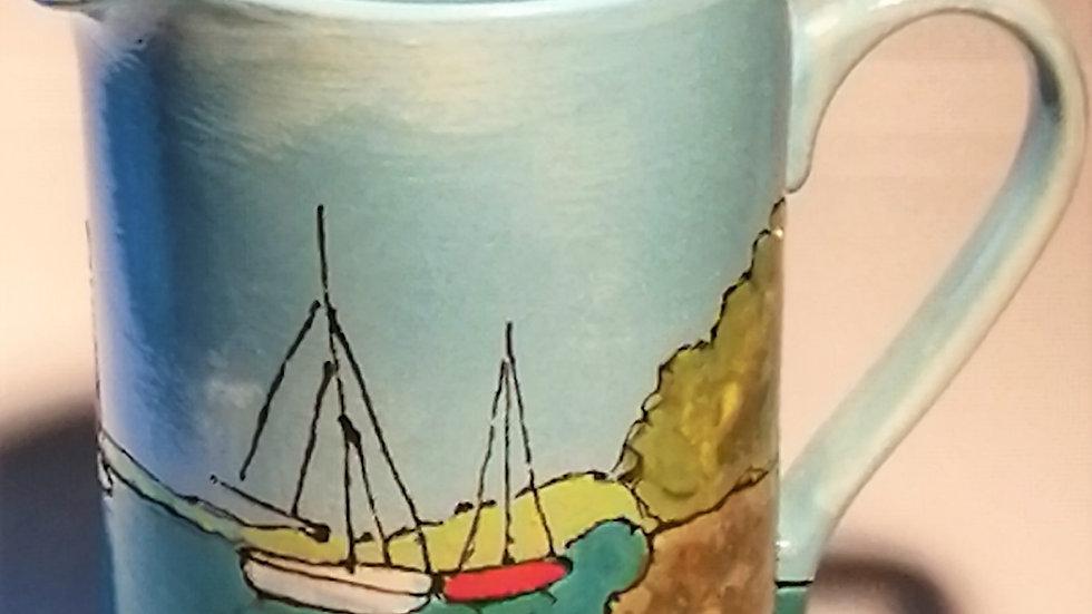 pint jug with yachtes