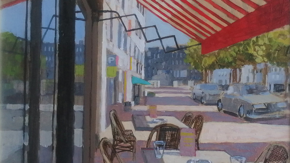 """""""Cafe with stripped blind"""" Mike Hall"""