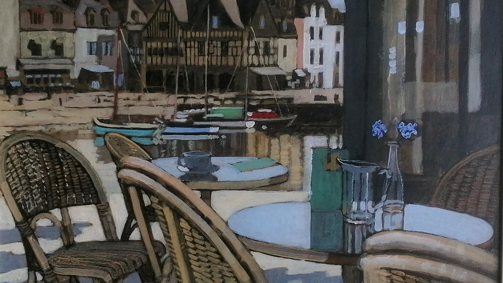"""""""Cafe with a view of the Harbour"""" By Mike Hall"""