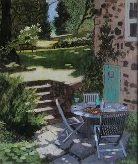 Lunch_on_the_lower_terrace._acrylic_on_b