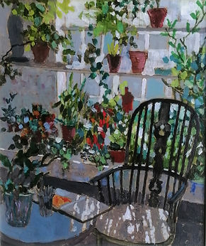 Chair_in_the_conservatory._acrylic_on_bo
