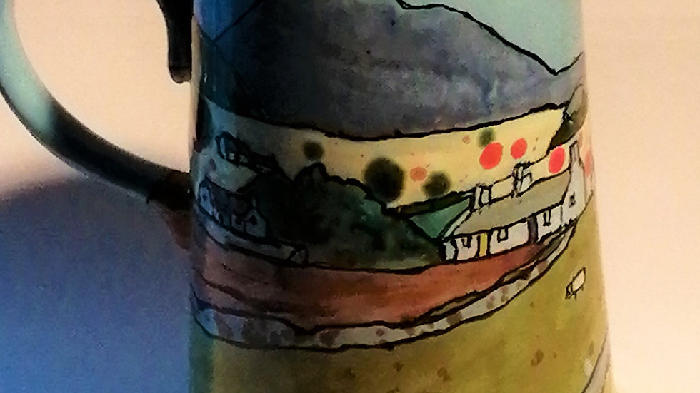 Pint jug with country scene