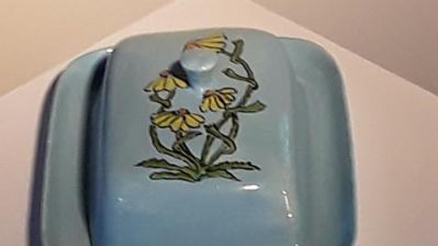 Butter dish hand painted with flowers