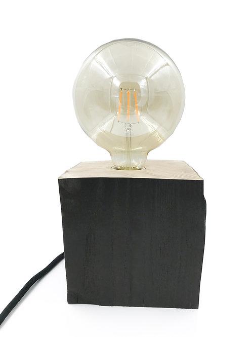 Lampe à poser Bois Massif Brulé & Ampoule     ▲DBT Création▲
