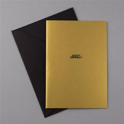 Carte de Voeux Or + Enveloppe noire HAPPY BIRTHDAY