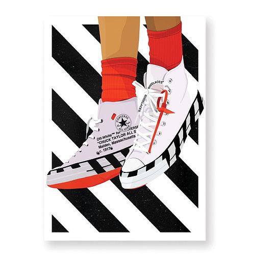 CONVERSE X OFF-WHITE  Affiche Illustrée par HUGOLOPPI