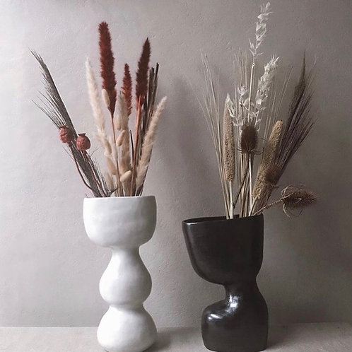 Grand Vase Noir Céramique en Grès Brut émaillé
