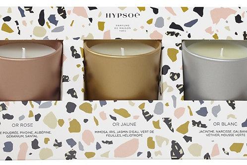 """Coffret 3 Bougies Parfumées """"ACCORDS""""par HYPSOE"""