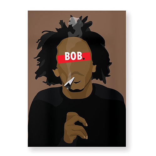 BOB MARLEY Affiche Illustrée par HUGOLOPPI