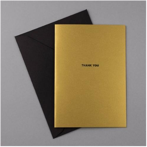 Carte de Voeux Or + Enveloppe noire THANK YOU