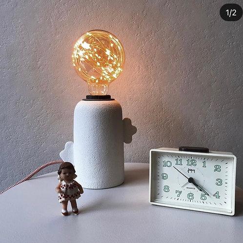 Lampe Céramique en Grès Brut Blanc, Cordon Rouge