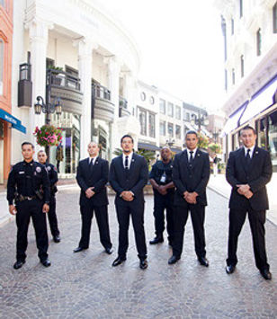 police officers personal protection detail in suits