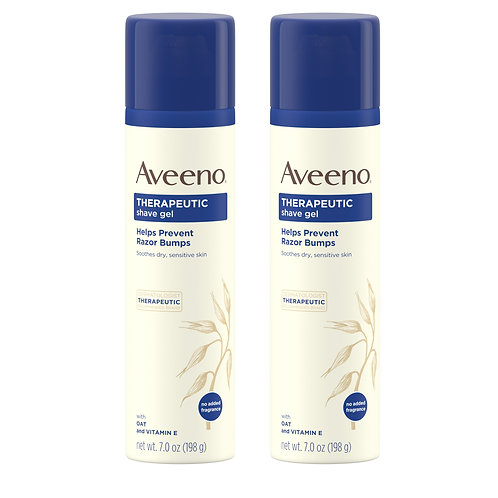 (2 Pack) Aveeno Therapeutic Shave Gel with Oat, for Sensitive Skin, 7 oz