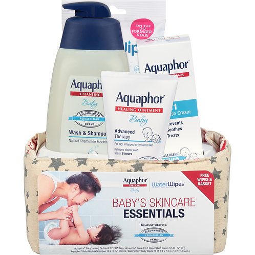 Aquaphor Baby Skincare Essentials With WaterWipes, 4 Piece Baby Gift Set