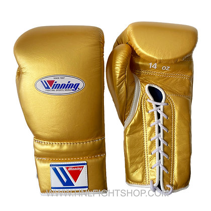 Winning Lace Up Gloves Custom Gold