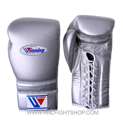 Winning Lace Up Gloves Custom Silver