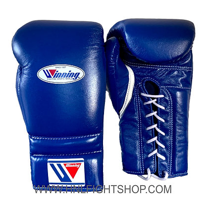 Winning Lace Up Gloves Blue
