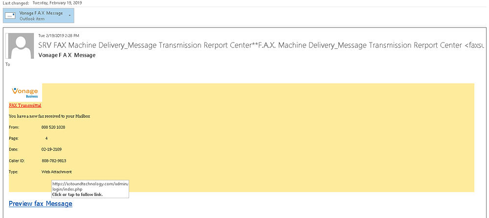 Outlook Message Hovering over a link