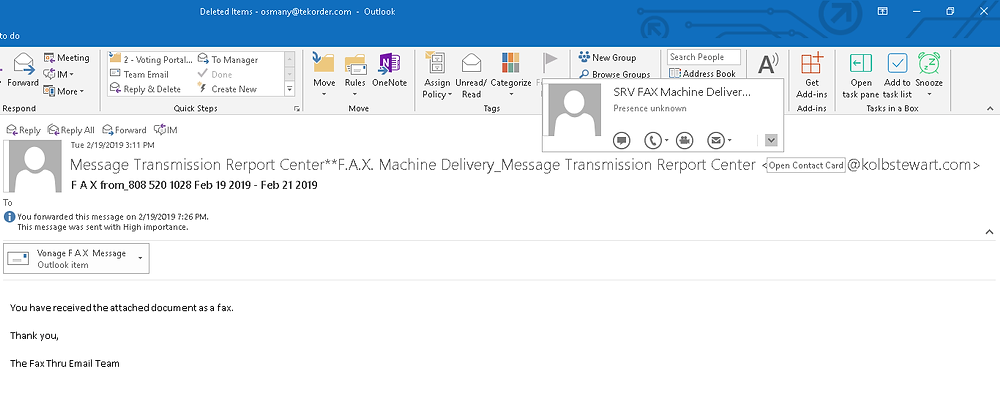 Outlook screenshot showing a message and the from sender information step 2