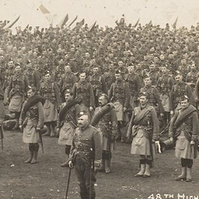 48th Highlander Regiment at Valcartier before leavng for World War I.