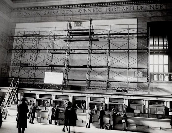 Scaffolding along the wall inside Union Station's Great Hall in 1944.