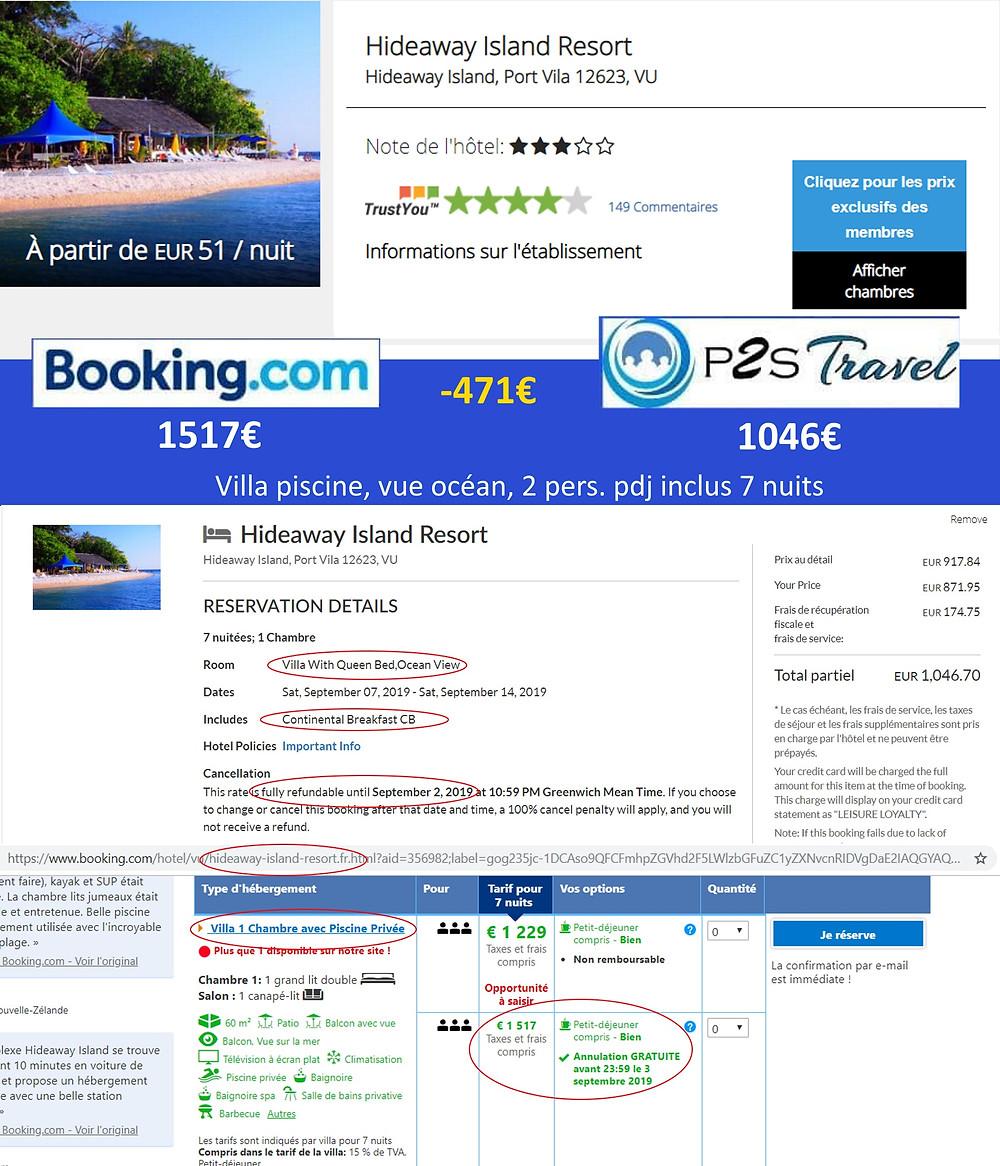 Hideaway Island Resort à Port Vila - Vanuatu - Villa piscine vue océan 7 nuits 2 adultes pdj inclus en septembre Tarif sur booking 1517€ - même chose sur P2S Travel 1046€ soit 471€ d'économies en réservant sur la plateforme de réservation P2S Travel