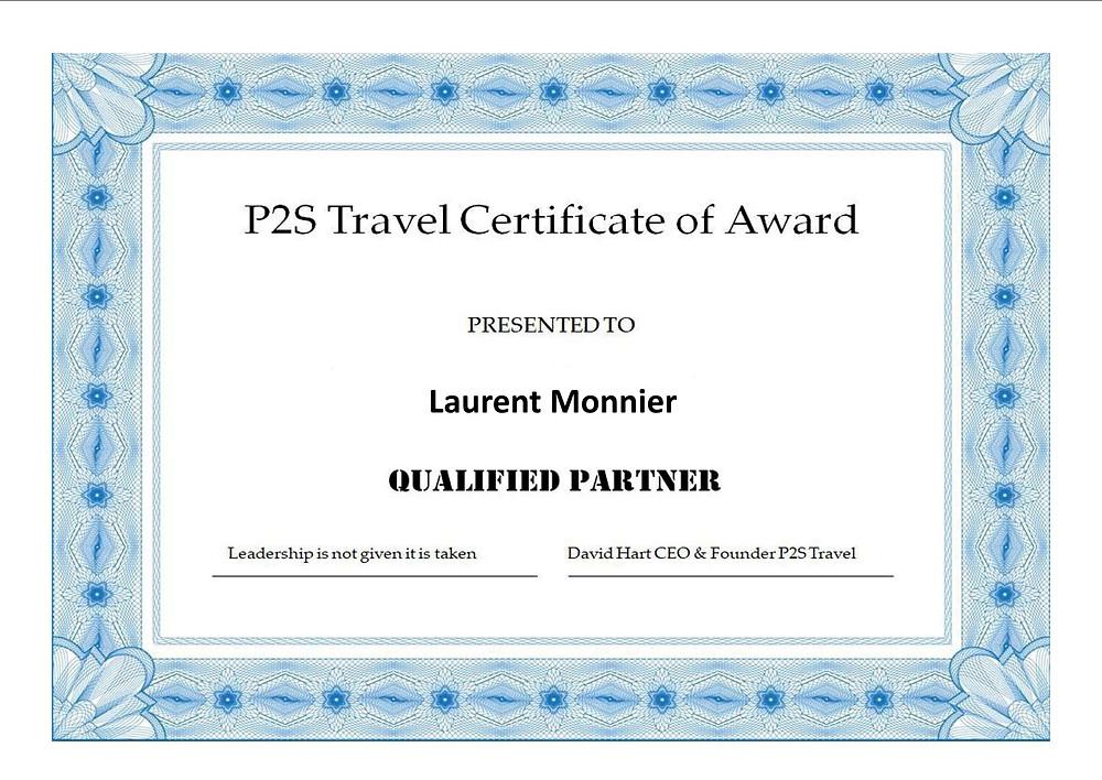 Laurent Monnier partenaire qualifié P2S Travel