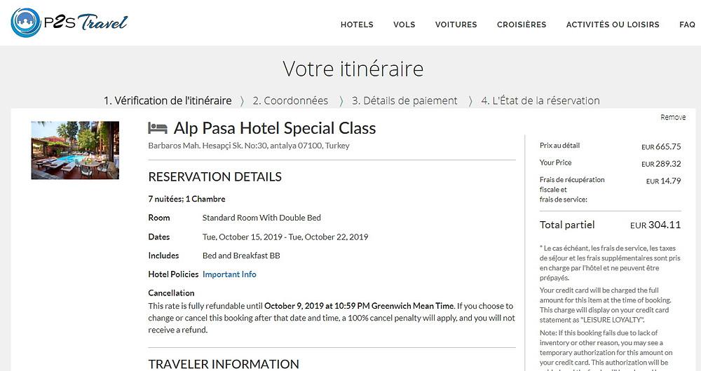 hôtels pas chers sur  P2S Travel