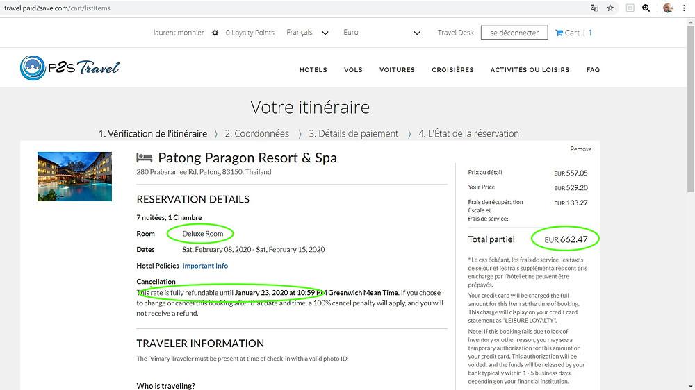hôtel 4 étoiles Patong Paragon Resort & Spa à Phuket en Thaïlande, chambre Deluxe, annulation gratuite  Tarif sur Hotels;com = 1774€ Tarif sur P2S Travel = 662€  Soit 62% moins cher sur le site de réservation privé P2S Travel !!!  Et 1112€ d'économies