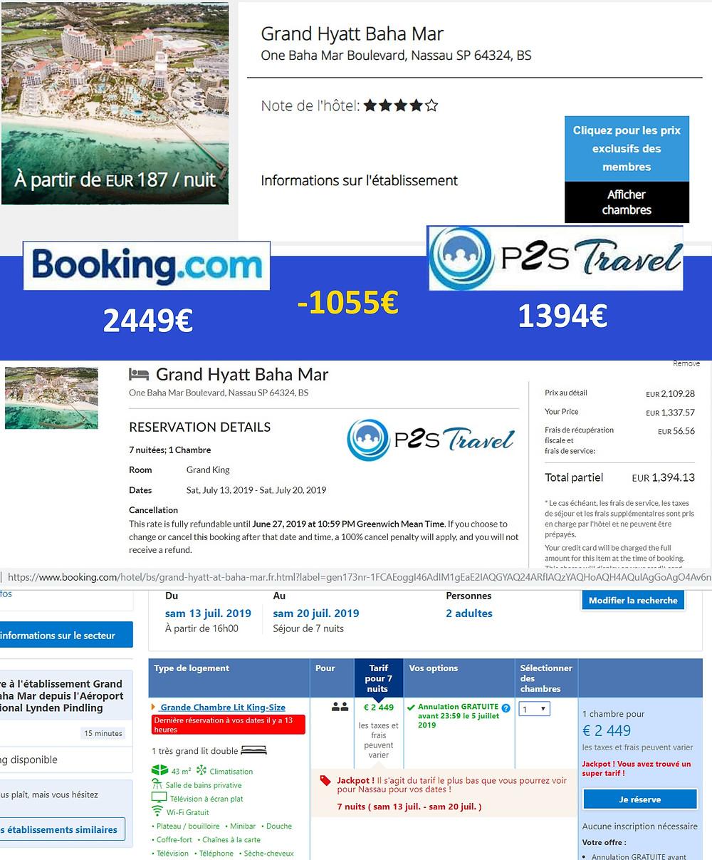 comparatif tarifs hôtel Grand Hyatt Baha Mar Bahamas P2S Travel Vs Booking