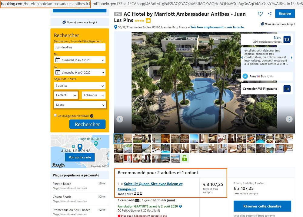 """Tarif hôtel """"AC  Hotel by Mariott Ambassadeur"""" en août à Antibes sur Booking"""