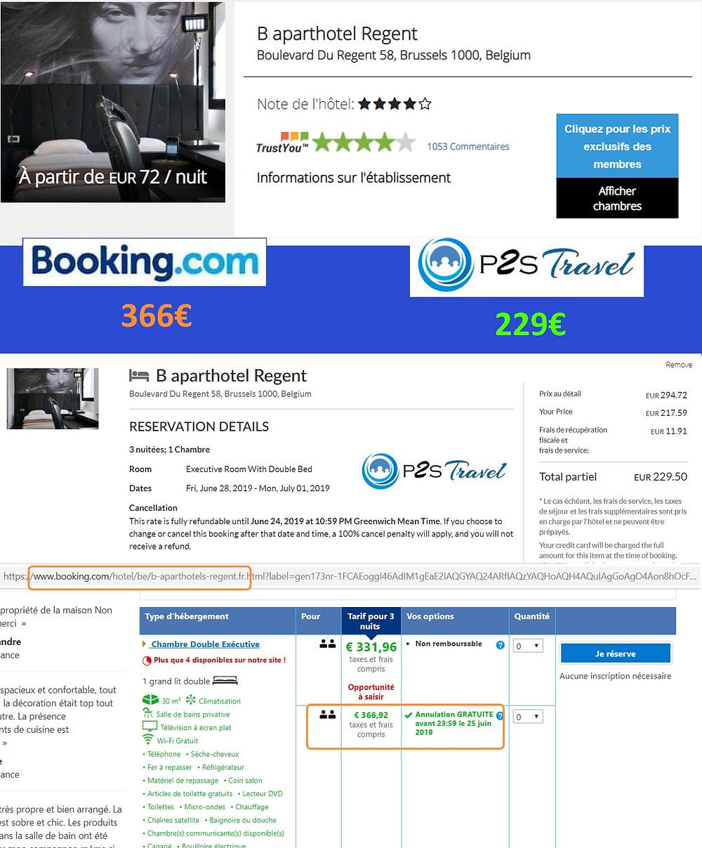 Hôtel B Aparthotel Regent à Bruxelles / Belgique - 1 chambre 3 nuits 2 adultes Tarif sur Booking 366€ - même chose sur P2S Travel 229€ soit 137€ d'économies en réservant sur le site réservation P2S Travel