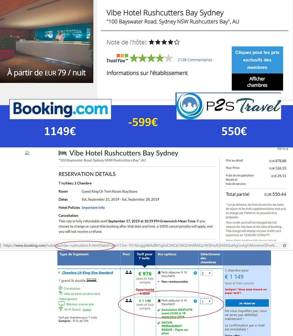 Vibe Hotel Rushcutters Bay Sydney à Sydney - 1 chambre 7 nuits 2 adultes en septembre Tarif sur booking 1149€ - même chose sur P2S Travel 550€ soit 599€ d'économies en réservant sur la plateforme de réservation P2S Travel