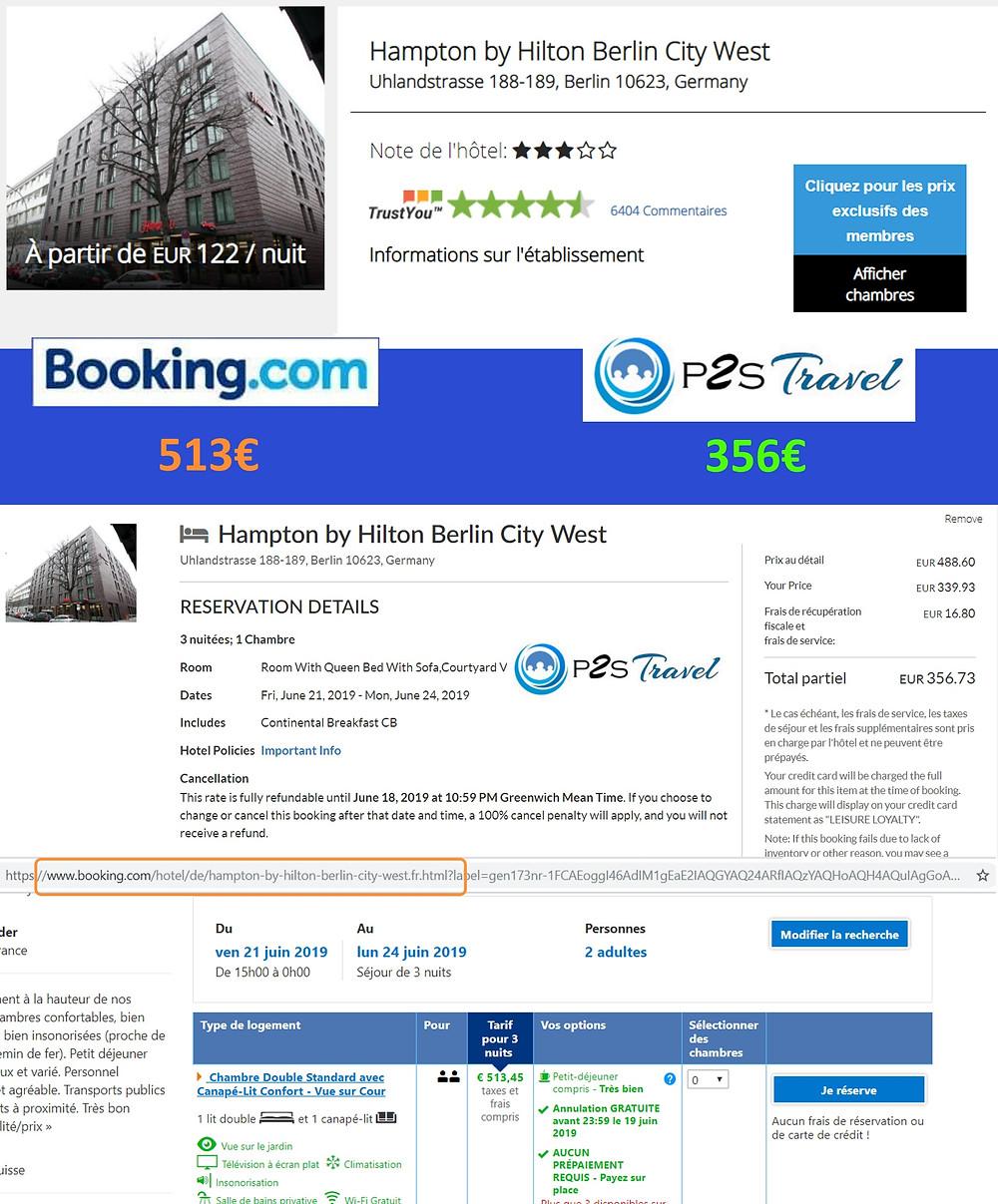 Hampton by Hilton Berlin à Berlin / Allemagne - 1 chambre 3 nuits 2 adultes Tarif sur Booking 513€ - même chose sur P2S Travel 356€ soit 157€ d'économies en réservant sur le site réservation P2S Travel