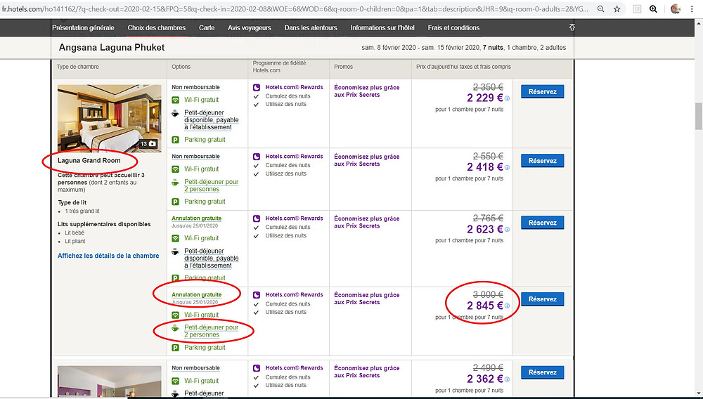 Tarif sur Hotels;com 7 nuits pour 2 pers à l'hôtel 5 étoiles Angsana Laguna Resort à Phuket en Thaïlande = 2845€ même chose sur P2S Travel = 1143€ soit 1702€ moins cher (60% de réduction)
