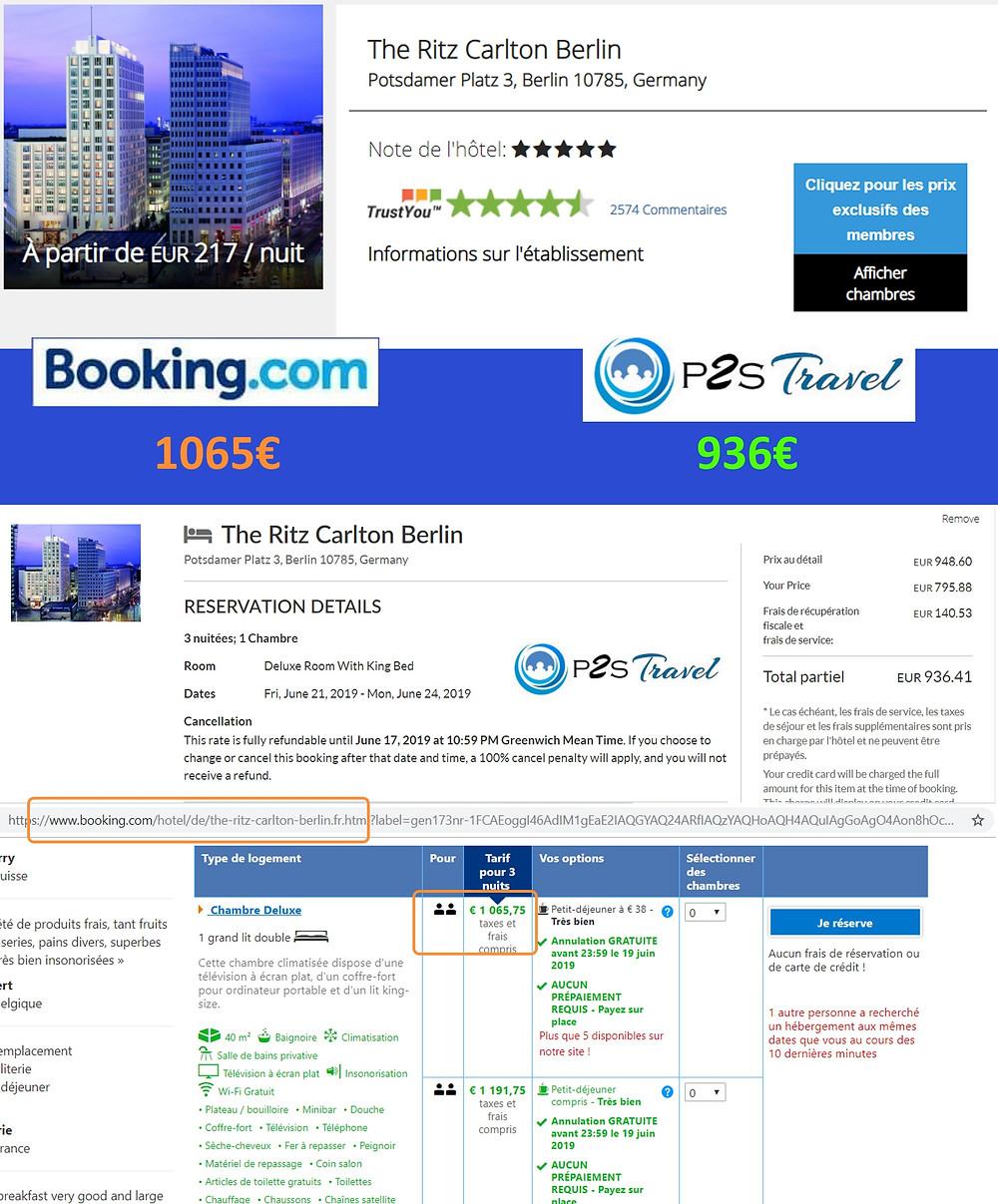 The Ritz Carlton Berlin à Berlin / Allemagne - 1 chambre 3 nuits 2 adultes Tarif sur Booking 1065€ - même chose sur P2S Travel 936€ soit 129€ d'économies en réservant sur le site réservation P2S Travel