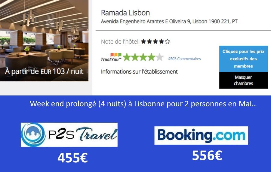 Hôtel Ramada Lisbonne 4 nuits 2 personnes en mai.. Tarif sur Booking = 556€ Tarif sur P2S Travel = 455€ Economies 111€