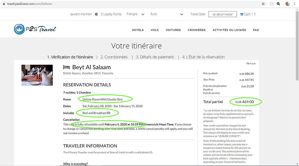 hôtel 4 étoiles Beyt Al Salaam à Zanzibar 7 nuits pour 2 pers petits déj inclus, annulable  Tarif sur Hotels;com = 704€ Tarif sur P2S Travel =    469€ !!!  Soit 35% moins cher .. Economies réalisées en réservant sur la plateforme de réservation P2S Travel = 235€ !!