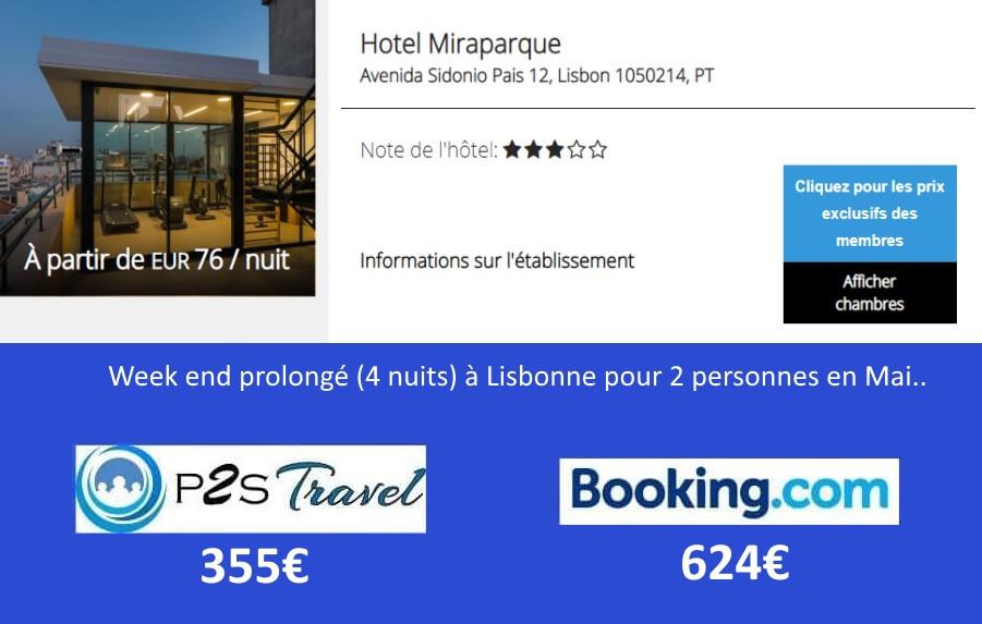 Hôtel Miraparque Lisbonne 4 nuits 2 personnes en mai.. Tarif sur Booking = 624€ Tarif sur P2S Travel = 355€ Economies 269€