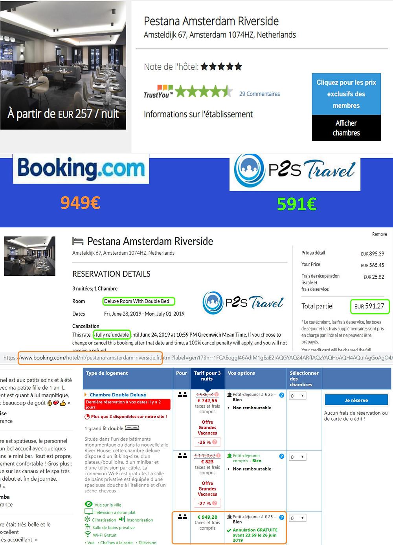 Hôtel Pestana Amsterdam Riverside à Amsterdam / Pays Bas - 1 chambre 3 nuits 2 adultes Tarif sur Booking 949€ - même chose sur P2S Travel 591€ soit 358€ d'économies en réservant sur le site réservation P2S Travel
