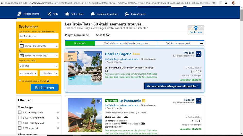 comparatif tarif hôtels pas cher Martinique Booking Vs P2S Travel
