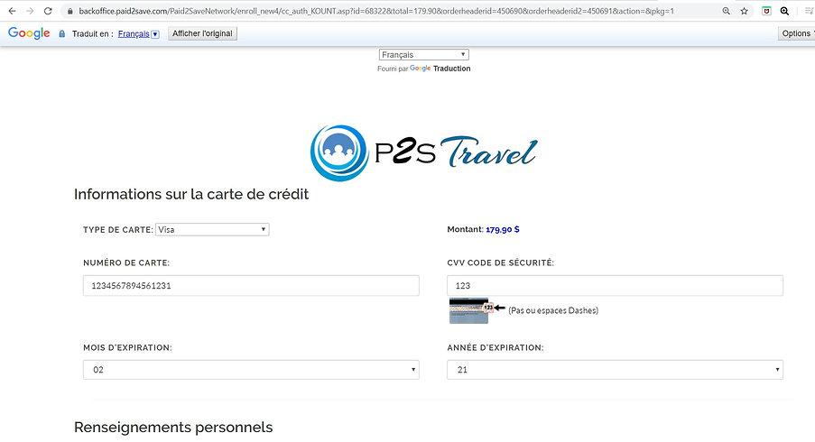 inscription P2S Travel / Adhésion P2S travel
