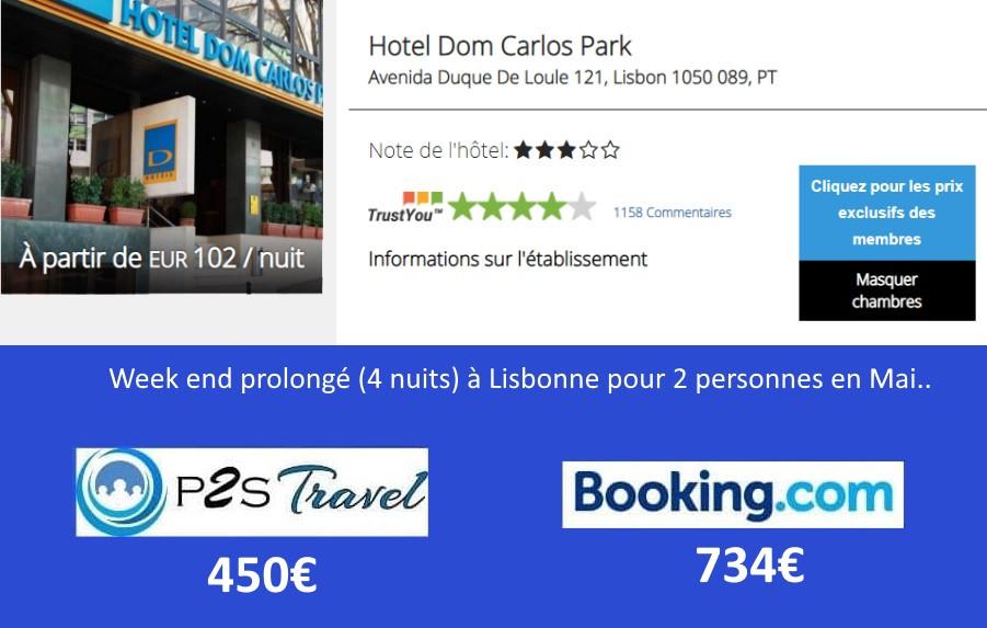 Hôtel Dom Carlos Park Lisbonne 4 nuits 2 personnes en mai.. Tarif sur Booking = 734€ Tarif sur P2S Travel = 450€ Economies 284€