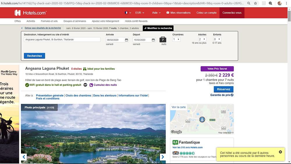 hôtel 5 étoiles Angsana Laguna Resort Phuket